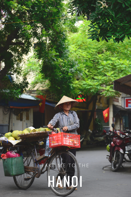 A woman selling fruits on the road in Hanoi