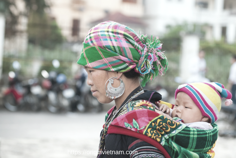 Mother and child in Sapa Town Vietnam