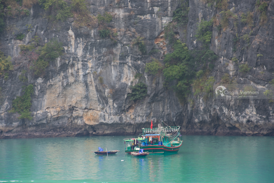 Fishing boat family in Halong Bay