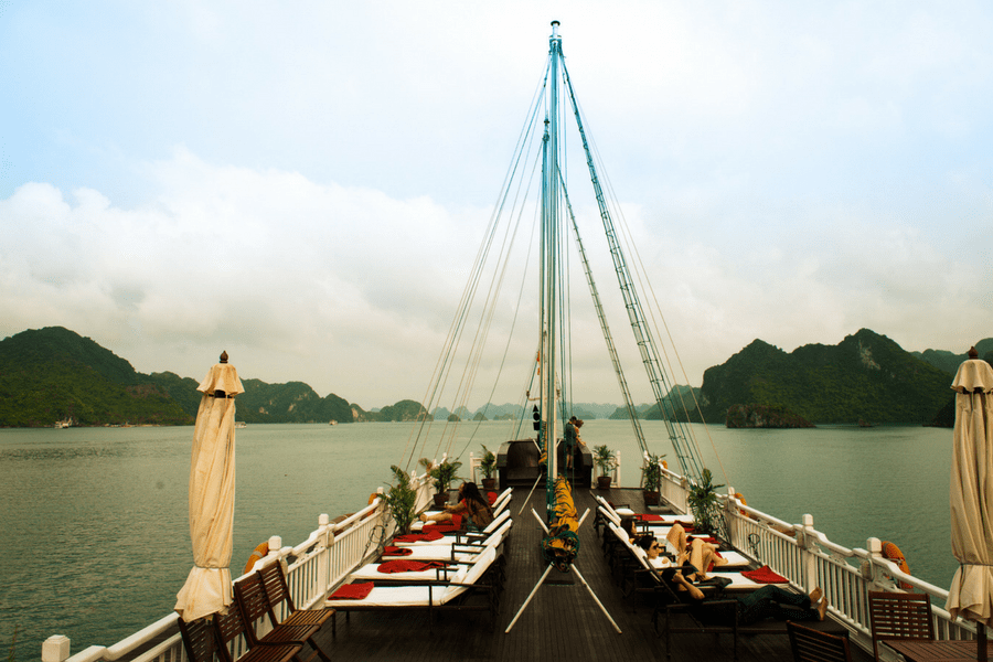Sundeck on the board -How To Visit Halong Bay From Hanoi City