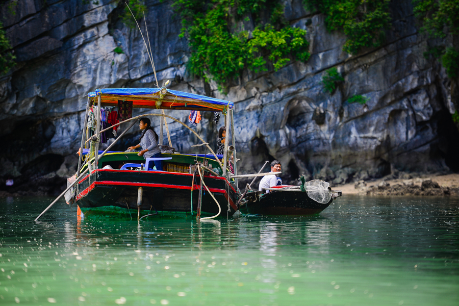 Fisherman boat in Bai Tu Long Bay