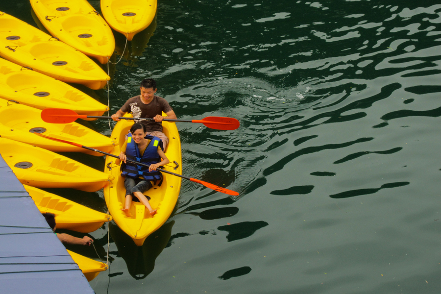 Kayak activity in Halong Bay