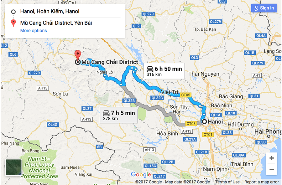 Route map to Mu Cang Chai from Hanoi