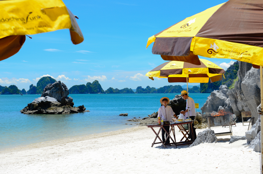 image bbq on beach in halong bay