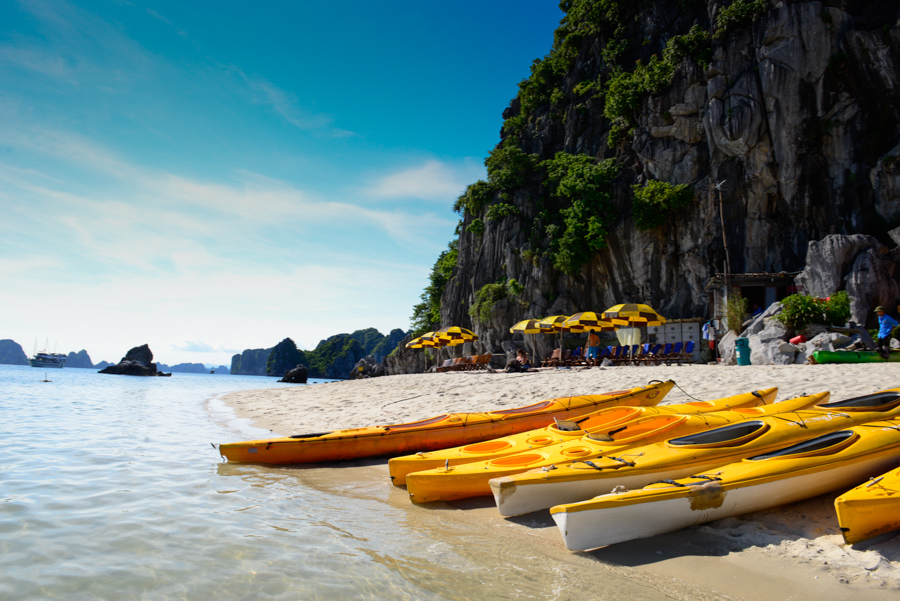 kayak station in Halong Bay