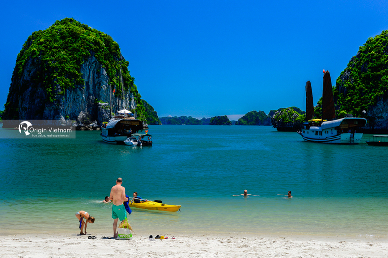 image of swimming in Halong Bay