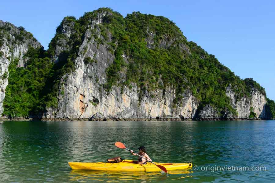 Kayaking in Dau Be island in Halong Bay
