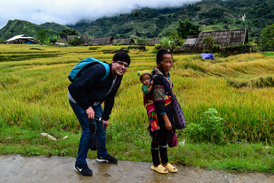 smiling with child in sapa
